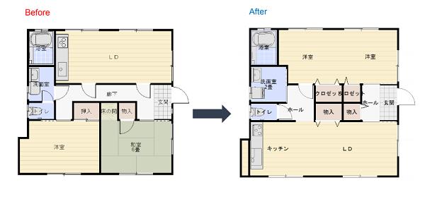 リノベーション 間取り変更|大分市富士見ヶ丘 平屋リノベーション物件 オープンハウス